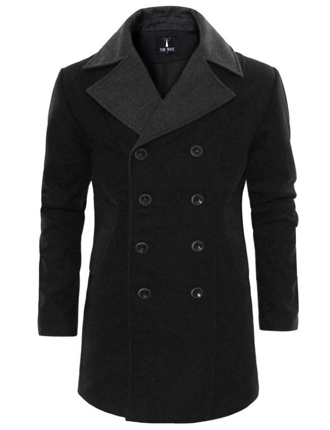TAM WARE Men's Trendy Double Breasted Relax Fit Trench Coat (TWCC12)