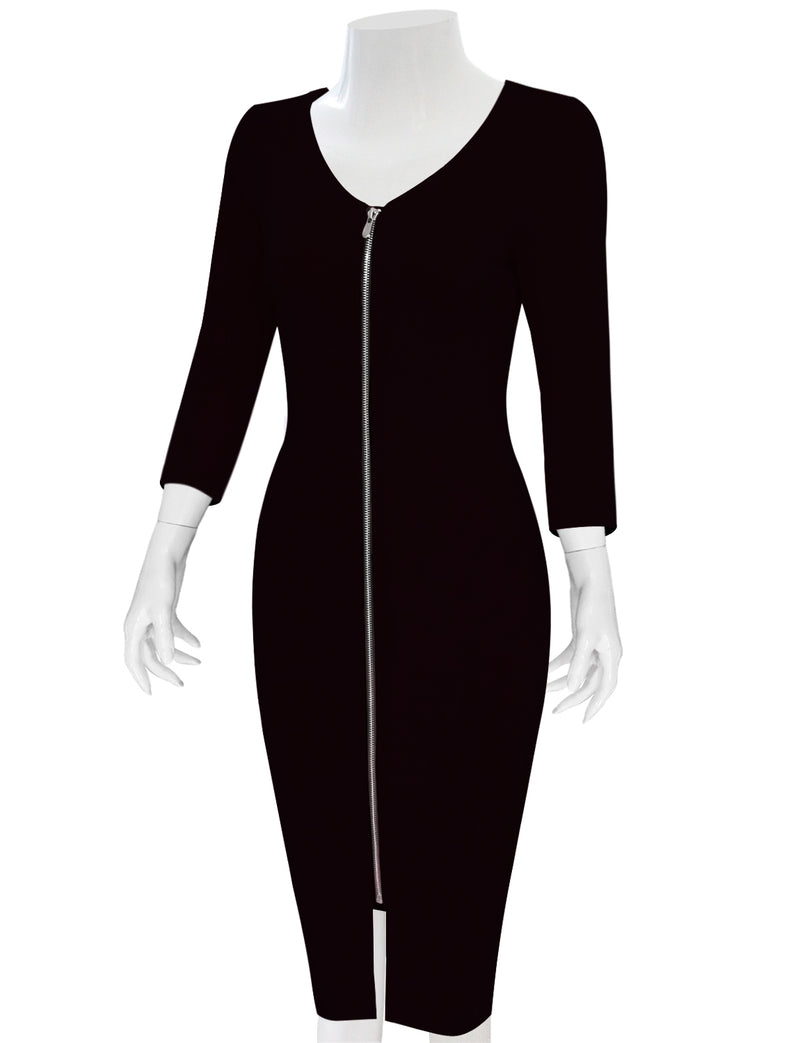 TAM WARE Women's Sophisticated Front Zip 3/4 Sleeve Bodycon Midi Dress