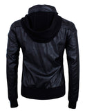 TAM WARE Men's Hidden Hoodie Zip-up PU Leather Bomber Jacket