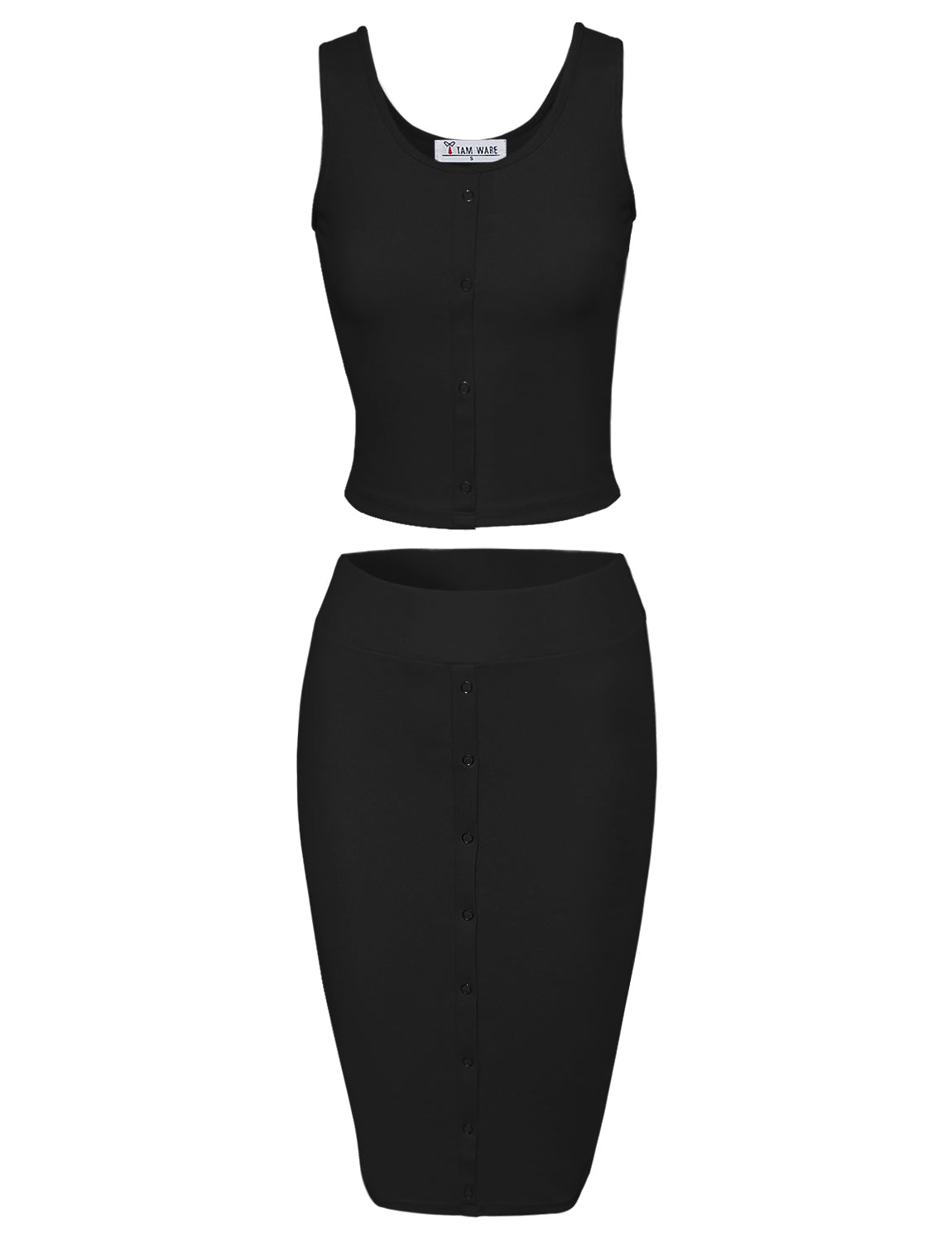 TAM WARE Women's Stylish Crop Top Midi Skirt Two-Piece Bodycon Midi Dress