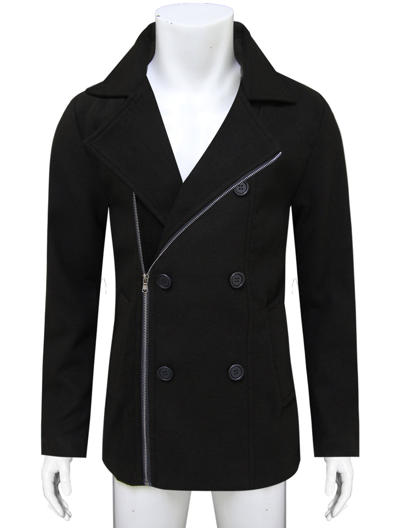 TAM WARE Men's Stylish Zip Up Wool Double Breasted Pea Coat