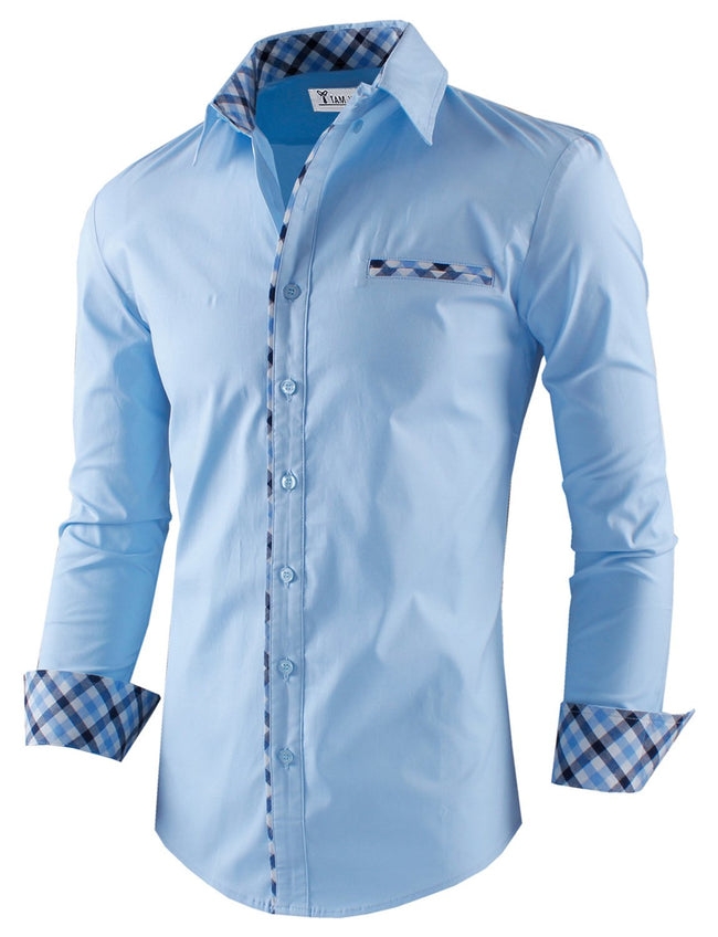 TW Men's Premium Casual Inner Contrast Dress Shirt