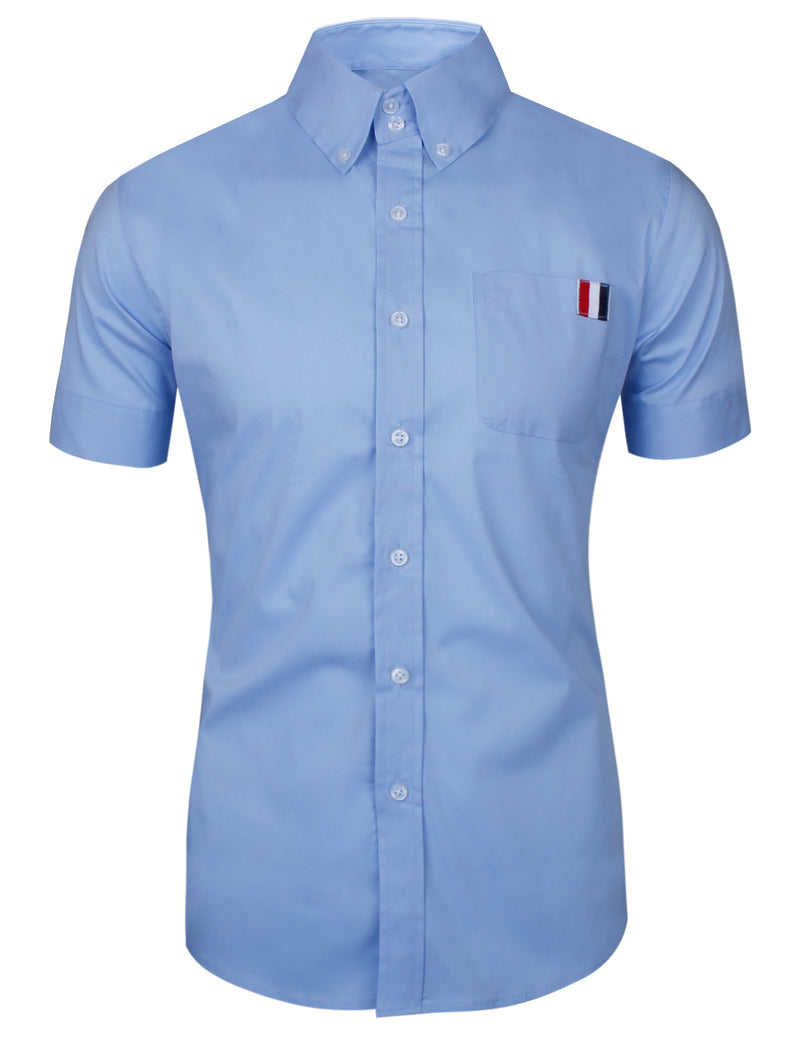 TAM WARE Men's Trendy Slim Fit  with Front Pocket Short Sleeve Shirt