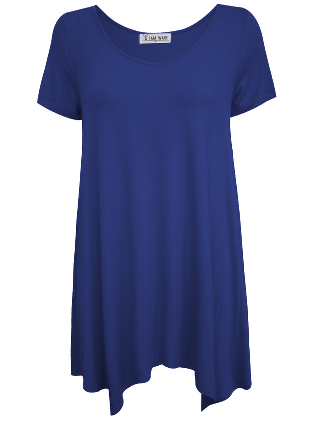 TAM WARE Women's Short Sleeve Loose Swing V-Neck Tunic Top