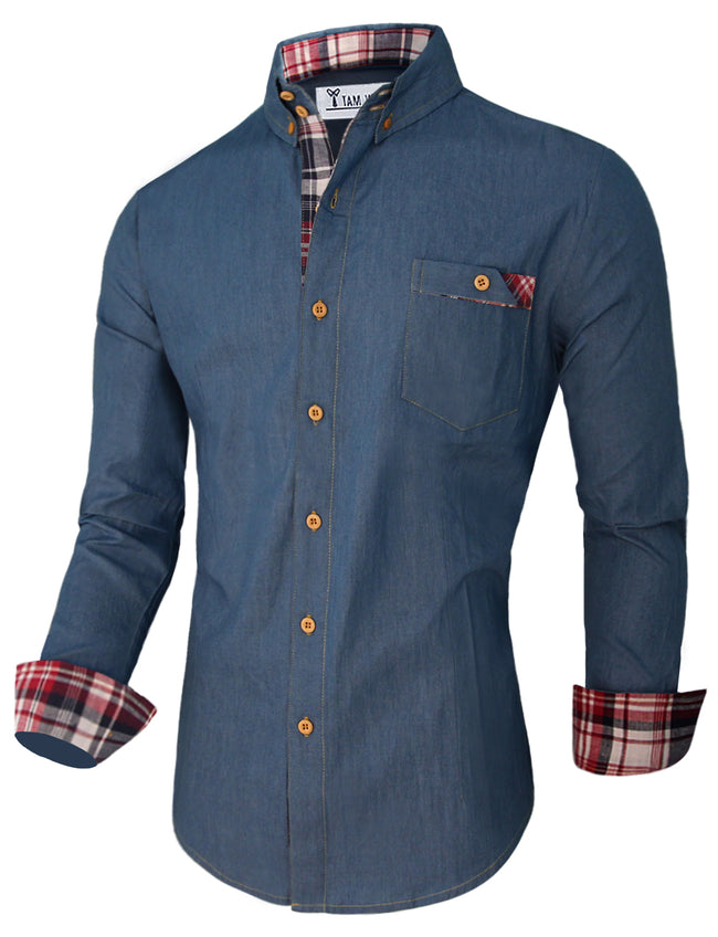TAM WARE  Men's Classic Inner Contrast Denim Button Down Shirt