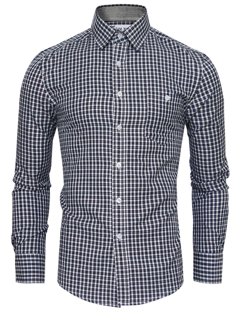 TAM WARE Men's Casual Checkered Long Sleeve Button Down Shirt