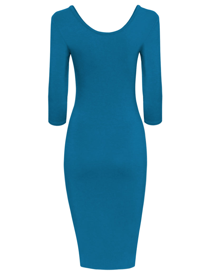TAM WARE Women's 3/4 Sleeve Bottom Cutout Bodycon Dress