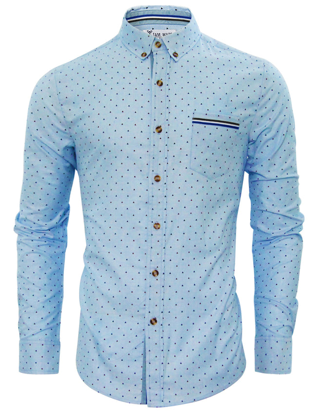 TAM WARE Men's Stylish Abstract Print Button Down Shirt (BLUE)