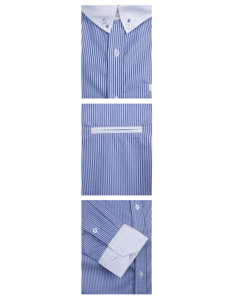 TAM WARE Men's Classic Vertical Striped Fake Pocket Long Sleeve