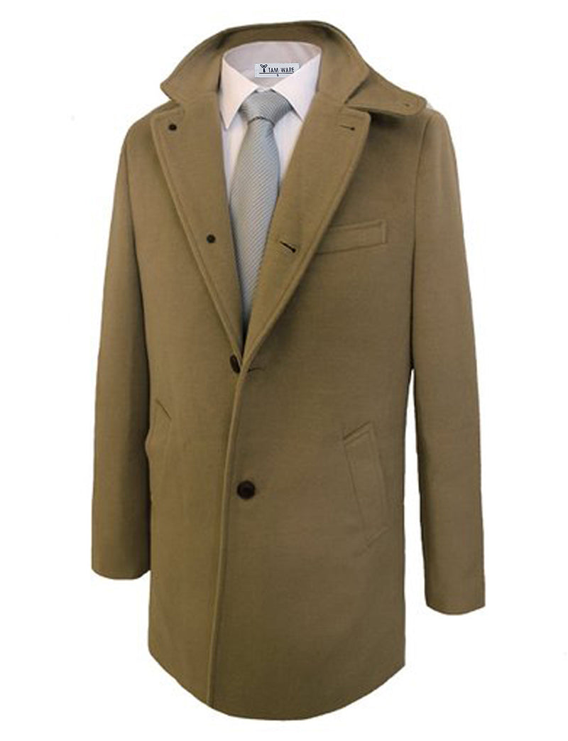 TAM WARE Men's Wool Blend Slim Fit Stylish Winter Coat