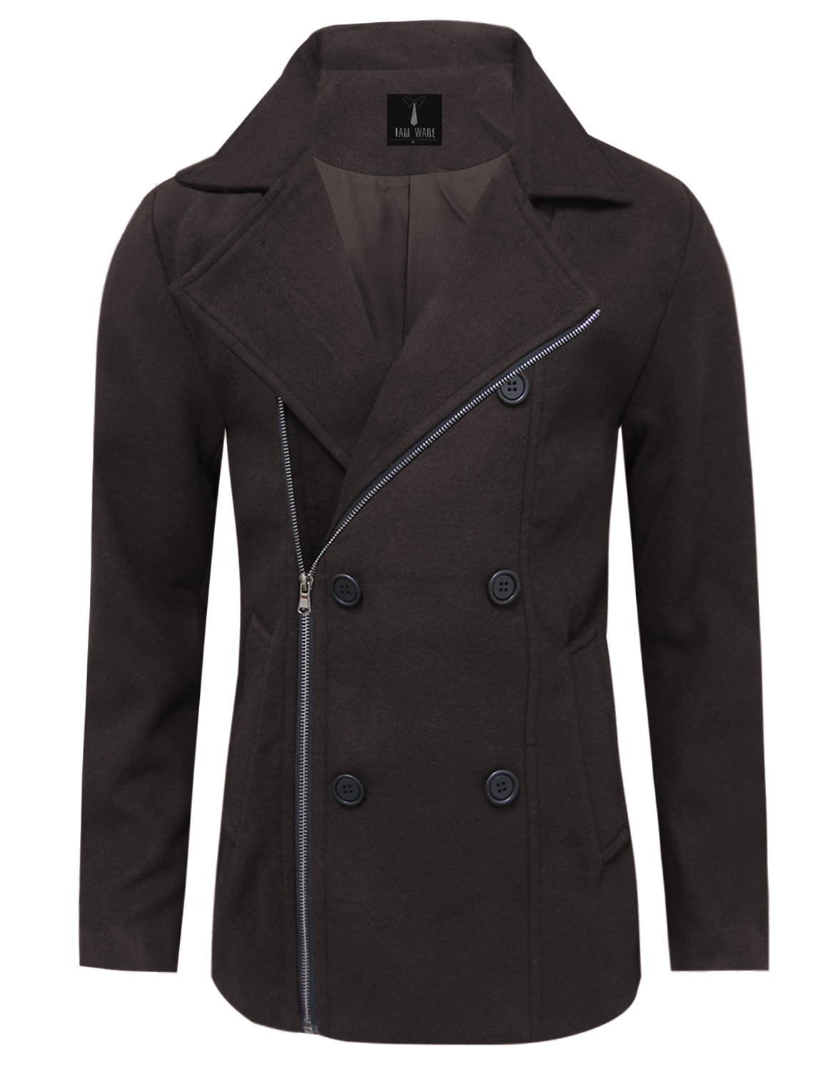 4c861250 TAM WARE Men's Stylish Zip Up Wool Double Breasted Pea Coat