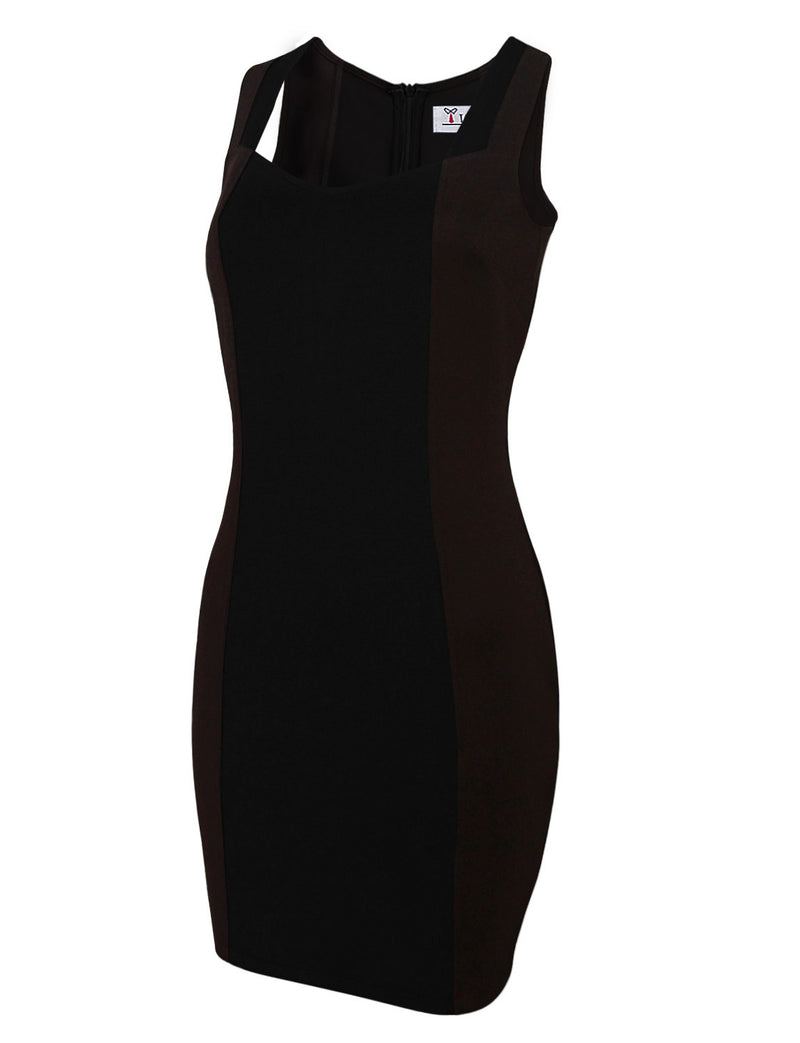 TAM WARE Women's Two-Tone Square Neck Sleeveless Bodycon Dress