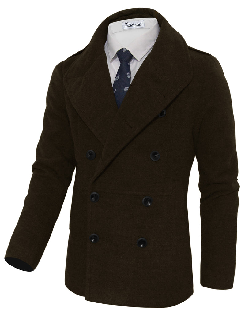 TAM WARE Men's Stylish Large Lapel Double Breasted Pea Coat (TWCC16)