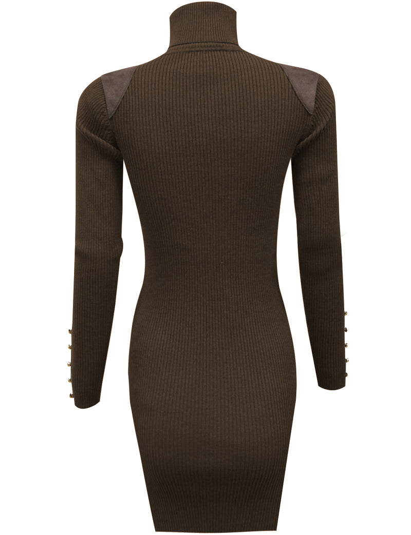 TAM WARE Women's Casual Fitted Package Hip Sweater Mini Dress