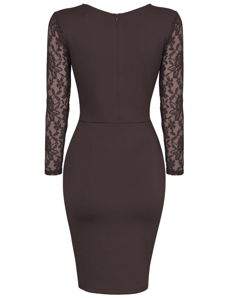TAM WARE Women's Stylish Lace Long Sleeve Bodycon Zip Midi Dress