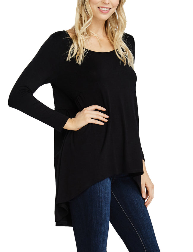 TAM WARE Women's Stylish Round Neck Long Sleeve Tunic Top (Made in USA)-TWAWD156