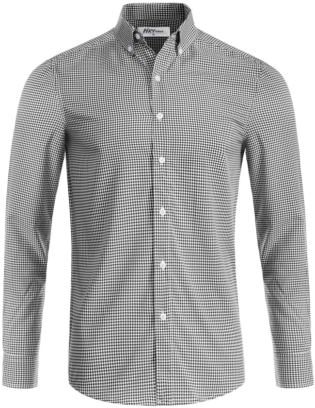 TAM WARE Men's Casual Slim Fit Checkered Long Sleeve Button Down Shirt (TWCMS22)