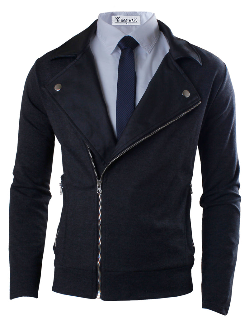 TAM WARE Men's Premium Slim Fit Inner Faux Leather Zip-up Jacket