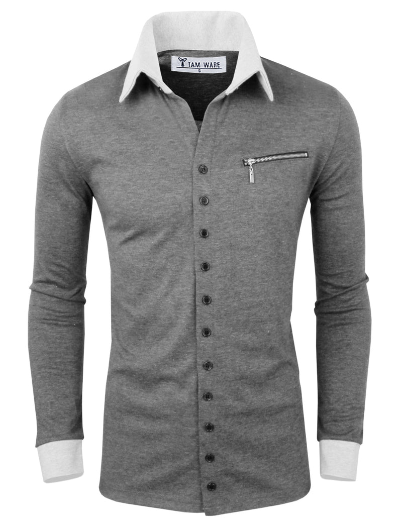 TAM WARE Men's Casual Fashion Collar Contrast Button Cardigan