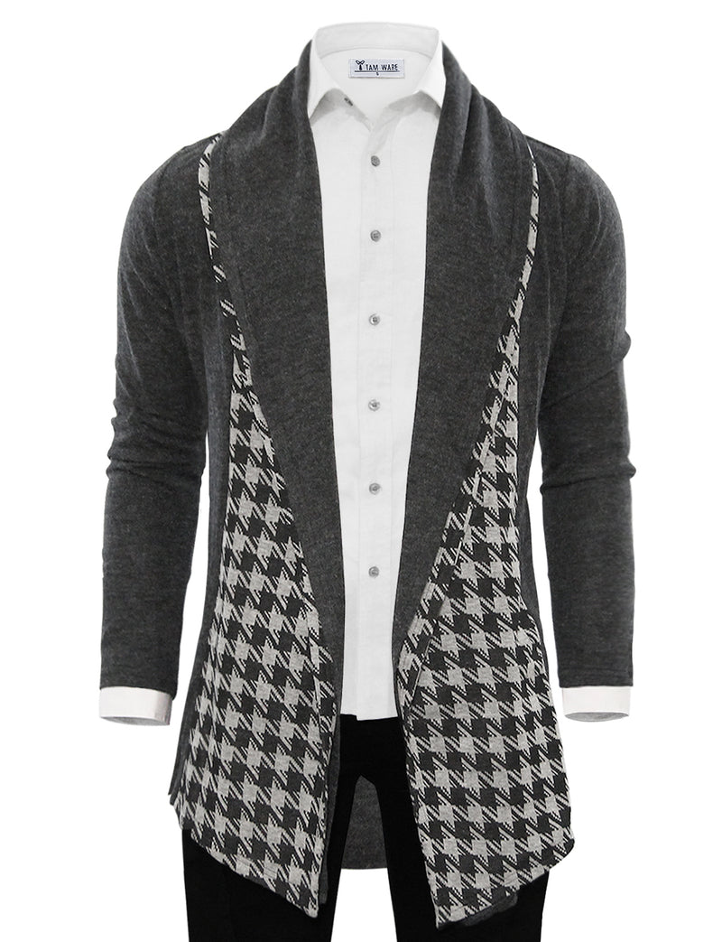 TAM WARE Men's Collar Plaid Pattern Open-Front Shawl Color Knit Cardigan