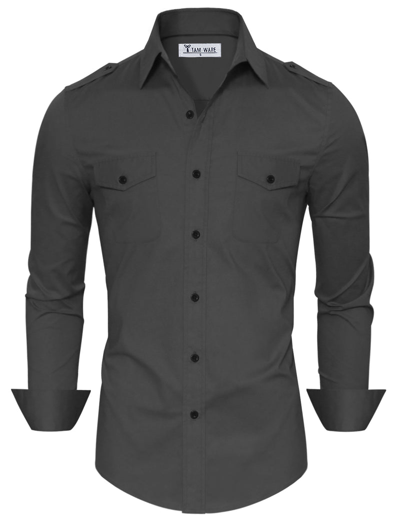 TAM WARE Men's Stylish Slim Fit Plain Button Down Dress Shirts