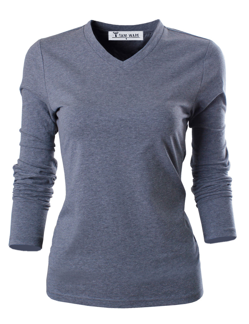 TAM WARE Women's Casual Essential Slim Fit V-neck Long Sleeve T-shirts