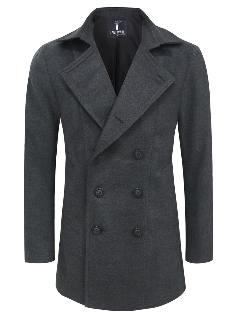 TAM WARE Men's Wool Blend Double Breasted Pea Coat