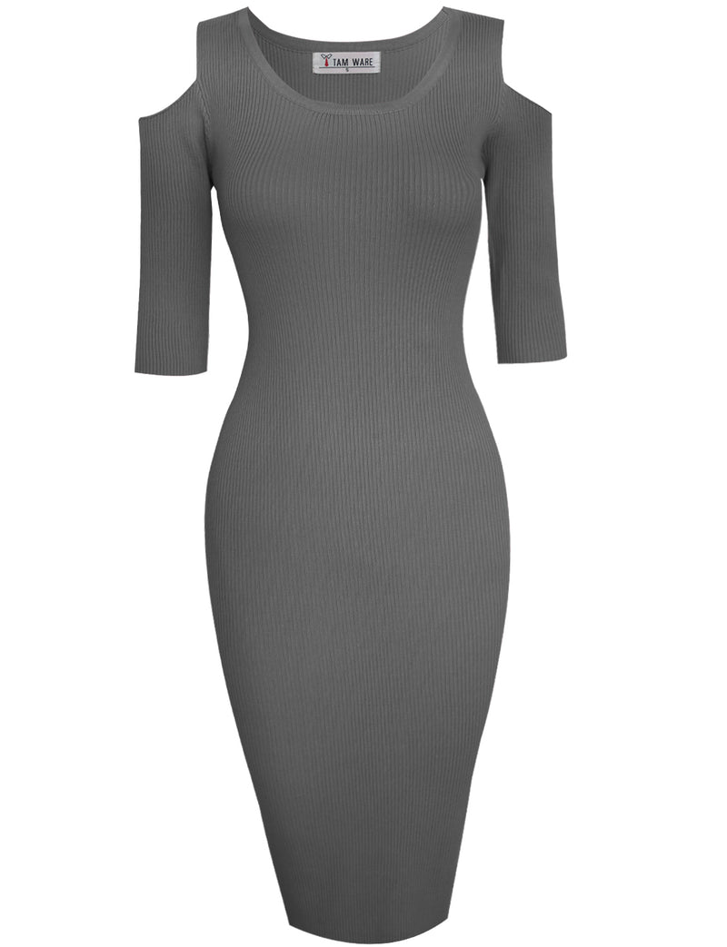 TAM WARE Women's Cut Out Short Sleeve Bodycon Knit Midi Dress