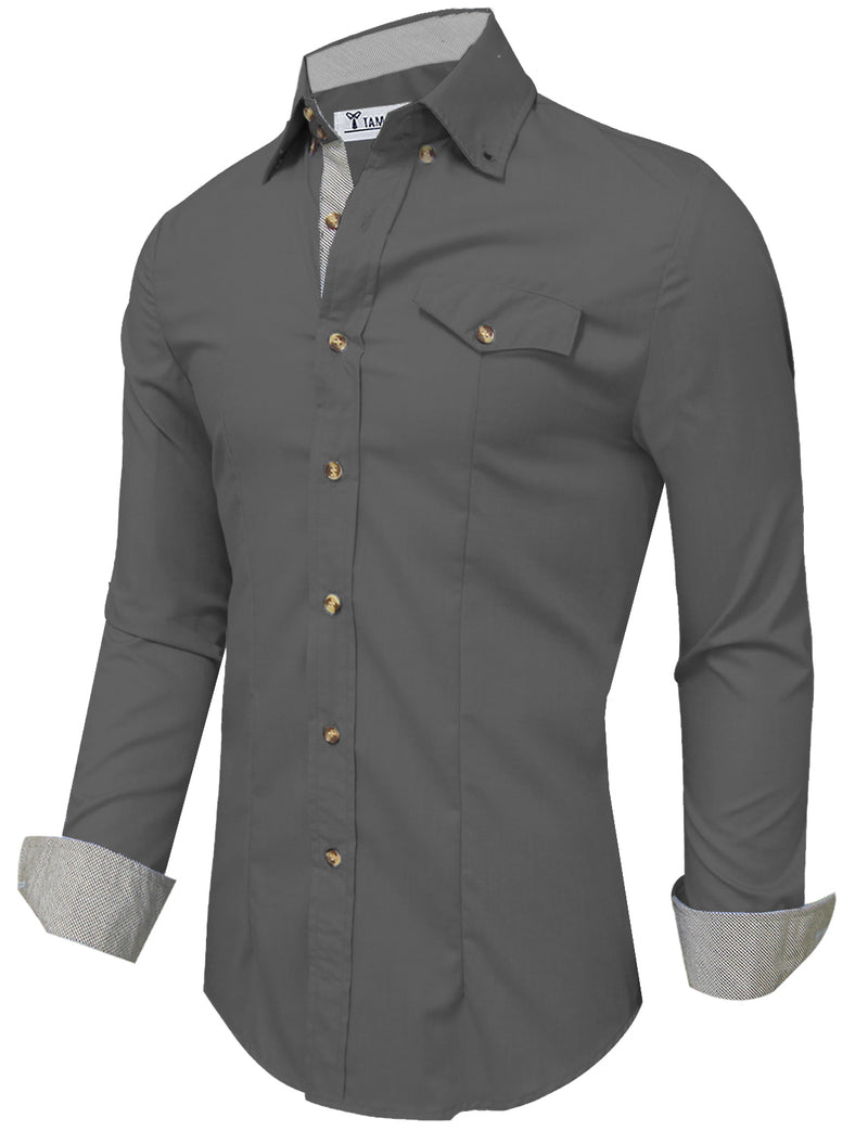 TAM WARE Men's Casual Inner Plaid Oxford Cotton Button Down Dress Shirts