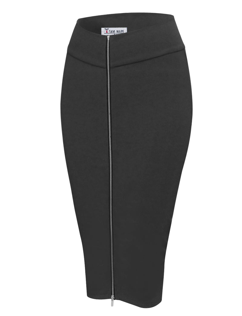 TAM WARE Women's Stylish Exposed Front Zip Stretchy Pencil Skirt