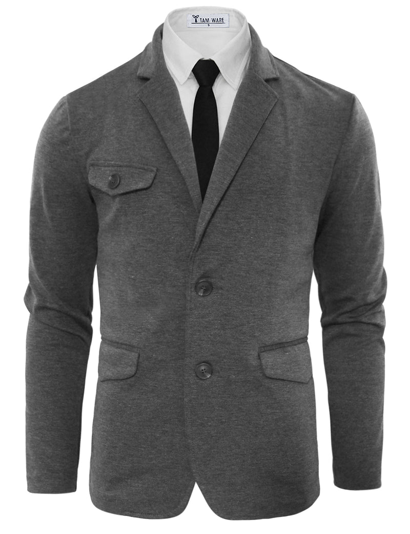 TAM WARE Men's Slim Fit Single Breasted 2 Buttons Blazer Jacket