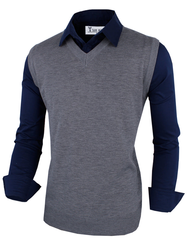 TAM WARE Men's Stylish Slim Fit Plain V Neck Sweater Vest