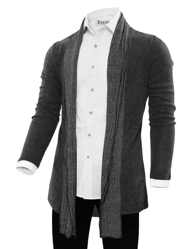 TAM WARE Men's Casual Contrast Color Open-Front Shawl Collar Knit Cardigan