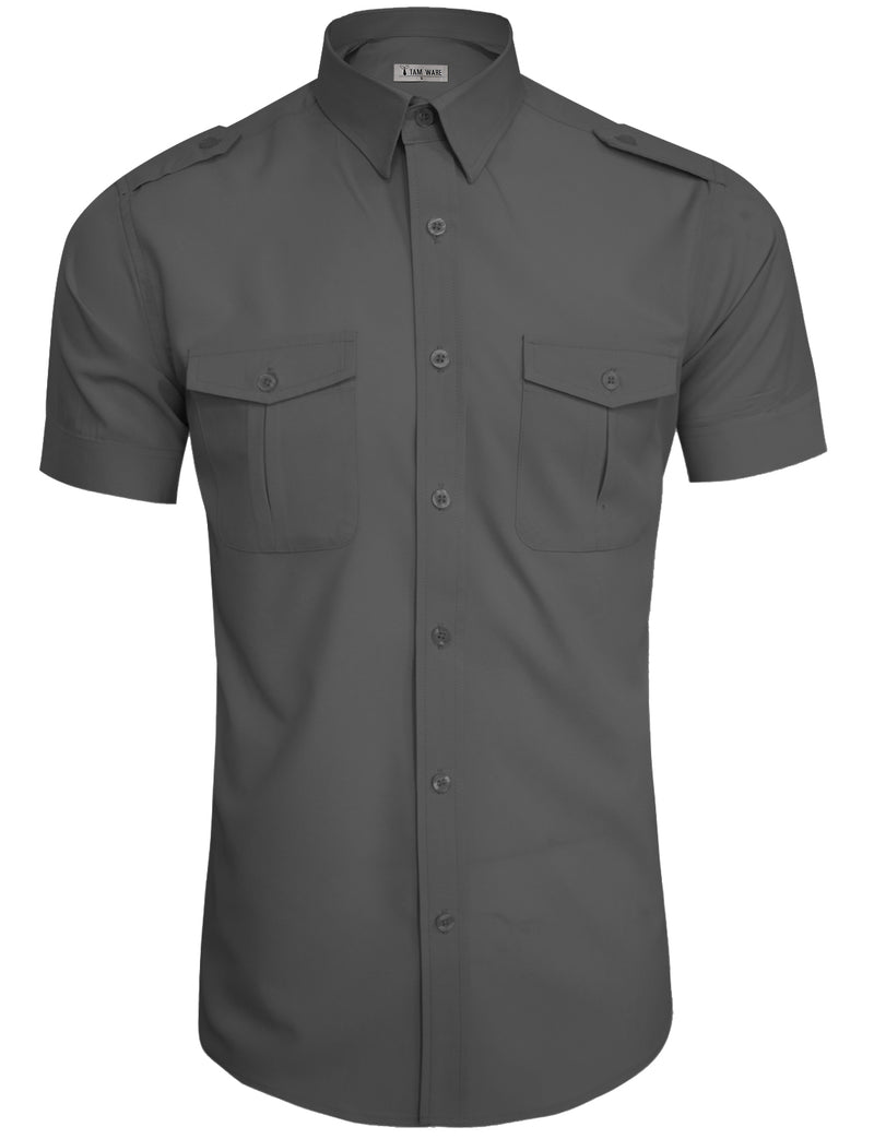 TAM WARE Men's Stylish Short Sleeve Plain Dress Shirts