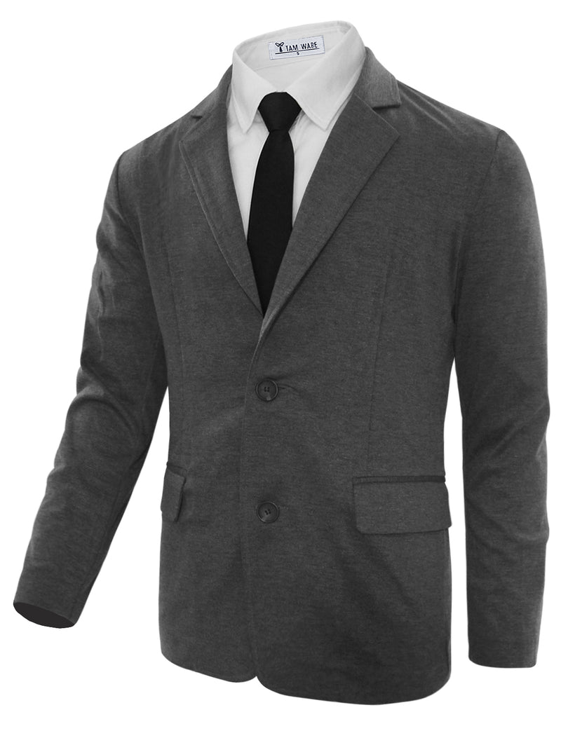 TAM WARE Men's Casual Slim Fit Single Breasted Two Button Blazer Jacket