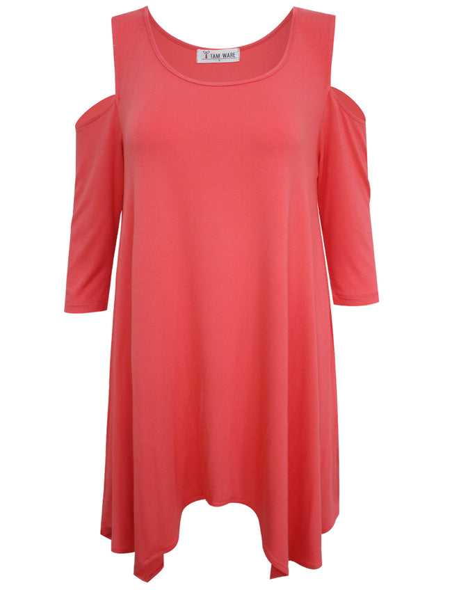 TAM WARE Women's Cut Out Shoulder Loose Swing Henley Tunic Dress-TWAWD161