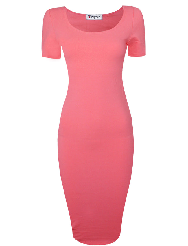 TAM WARE Women's Sophisticated Slim Fit Scoop Neck Short Sleeve Midi Dress