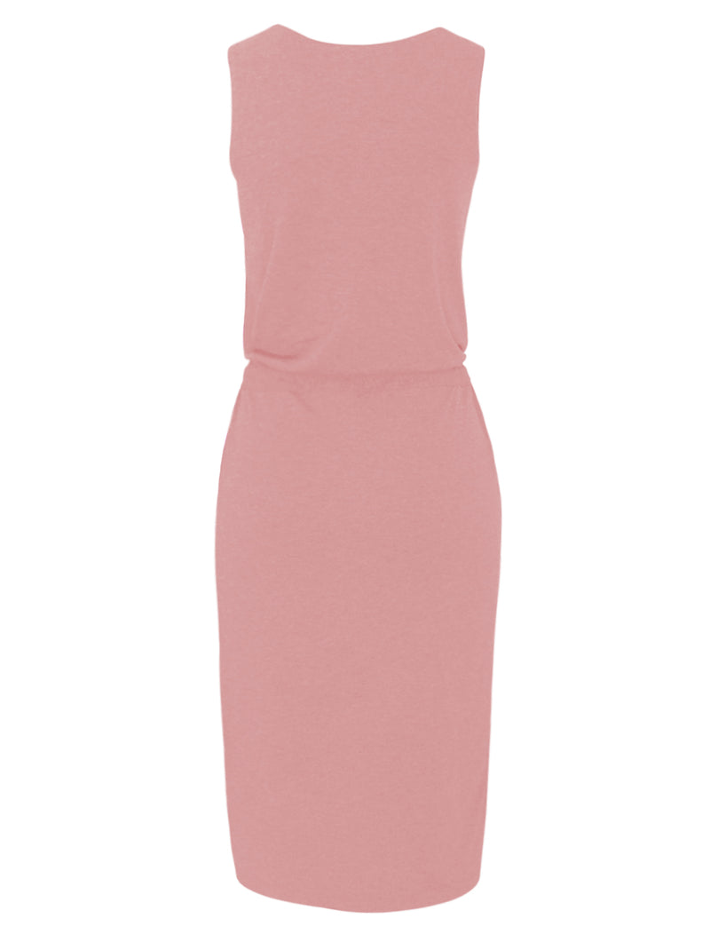 TAM WARE Women's Stylish Sided Slits Elasticized Waist Midi Dress