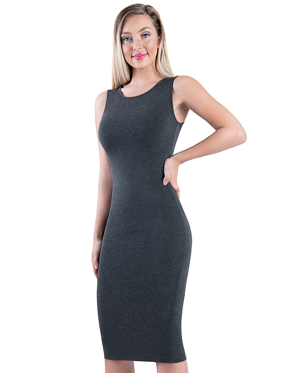 TAM WARE Women's Classic Slim Fit Sleeveless Midi Dress