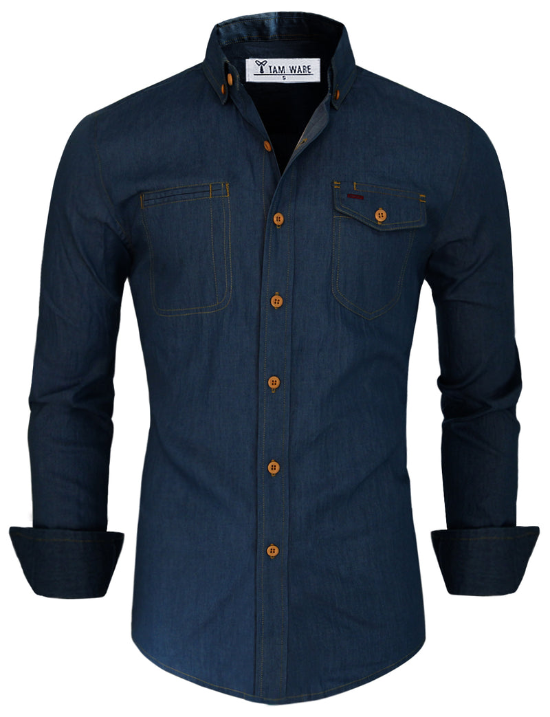 TAM WARE Men's Casual Denim Button Down Shirt