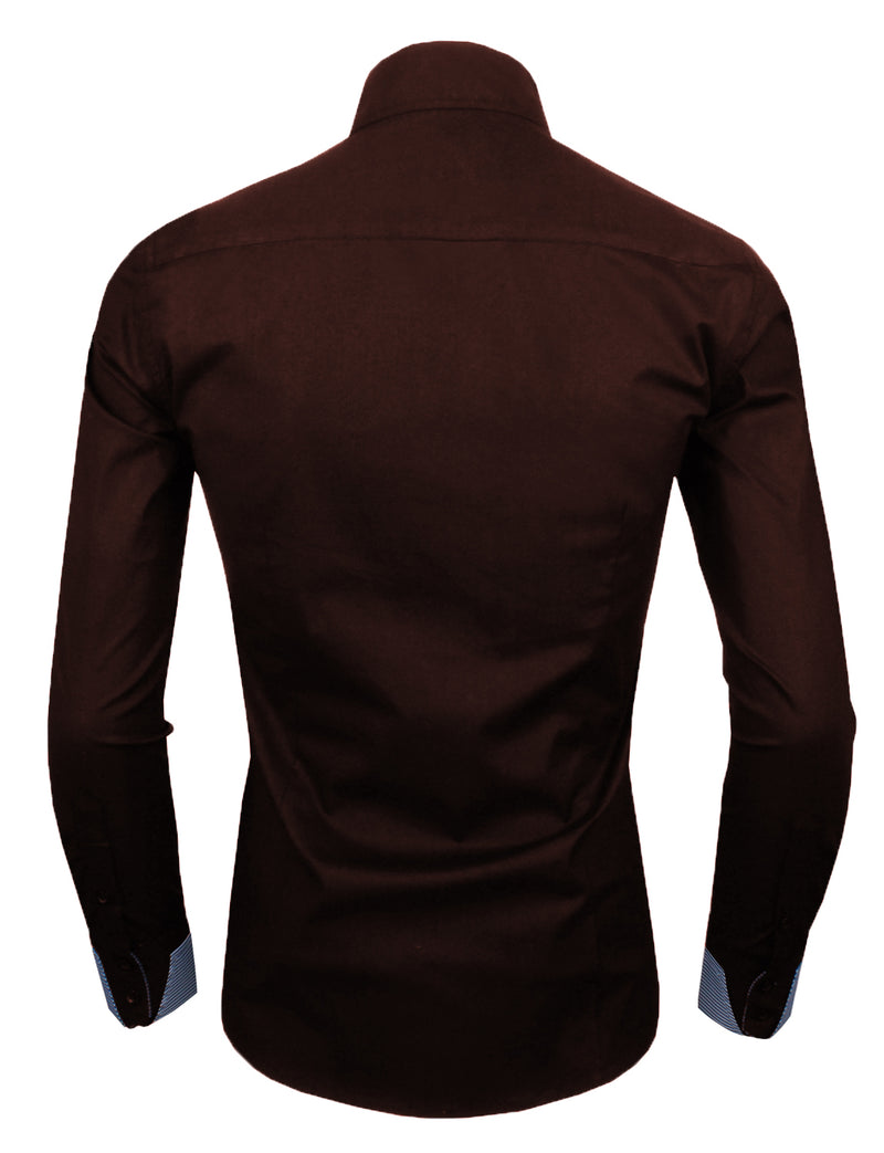 TAM WARE Men's Casual Slim Fit Inner Striped Long Sleeve Shirt (TW048S)