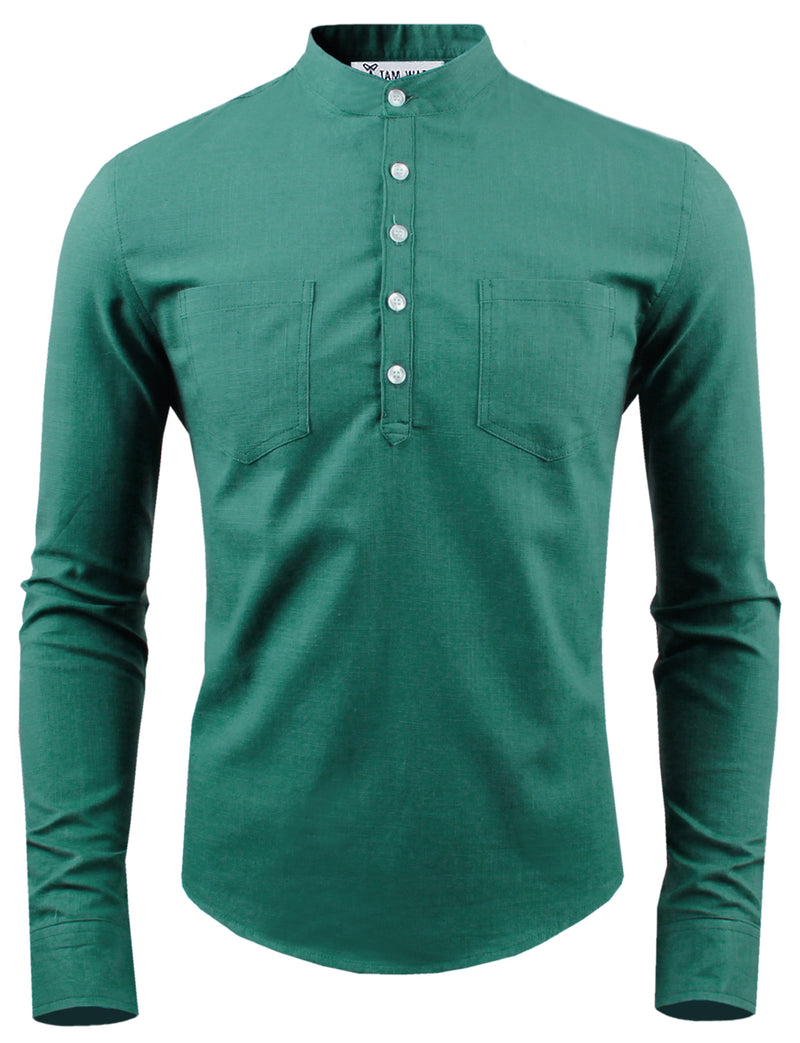 TAM WARE Men's Slim Fit Mid-Buttoned Neck Long sleeve Henley Shirt