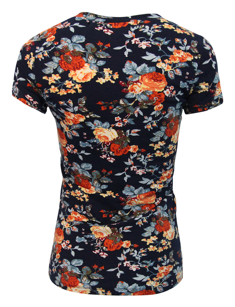 TAM WARE Women's Slim Fit Short Sleeve Floral V Neck T-Shirt
