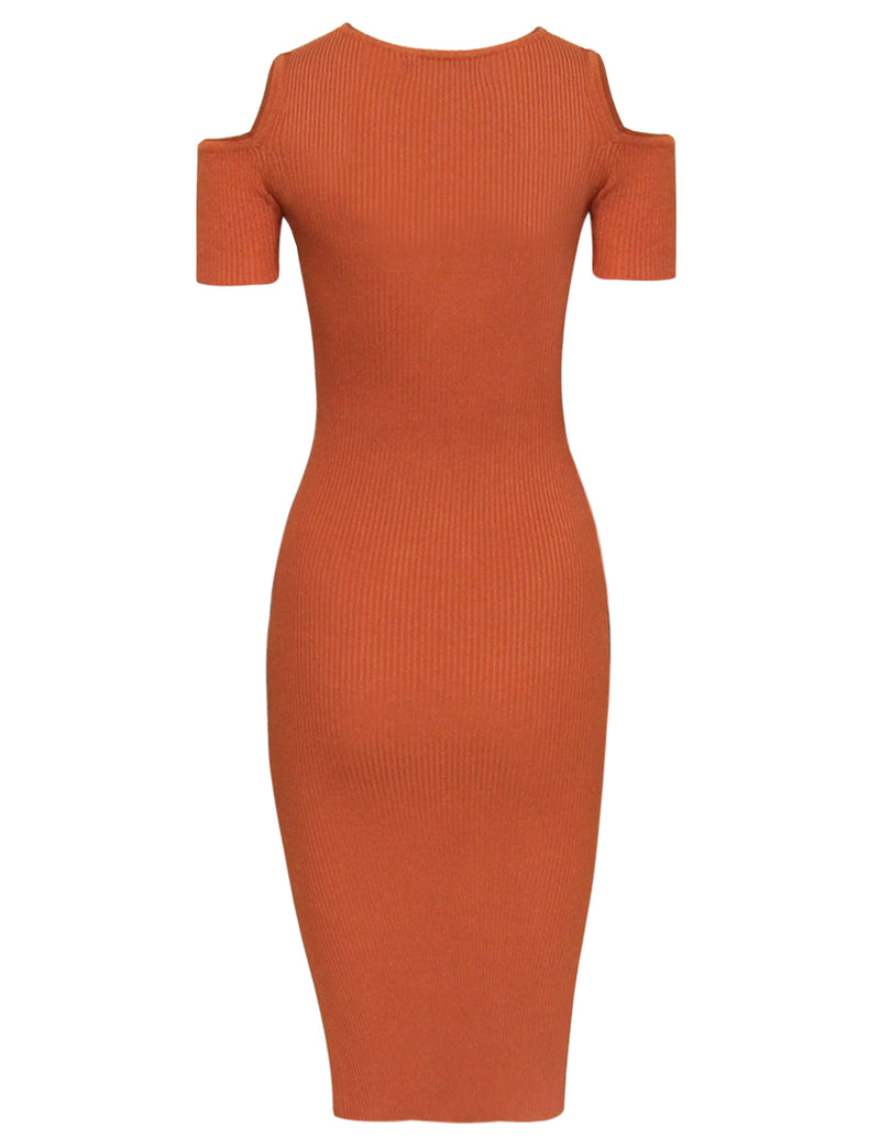 TAM WARE Women's Stylish Cut Out Shoulder Bodycon Knit Midi Dress