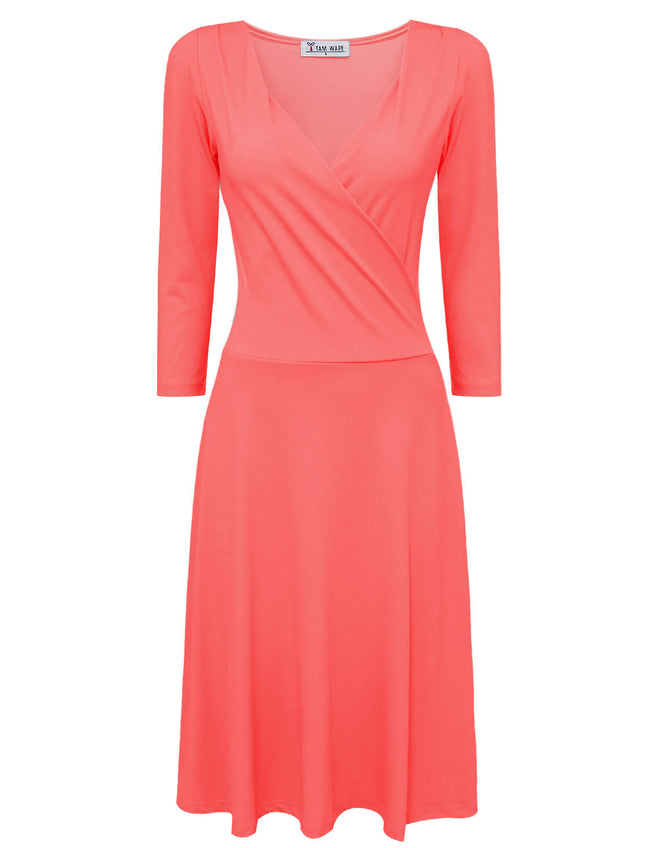 TAM WARE Women's Stylish Surplice Neckline 3/4 Sleeve Skater Dress