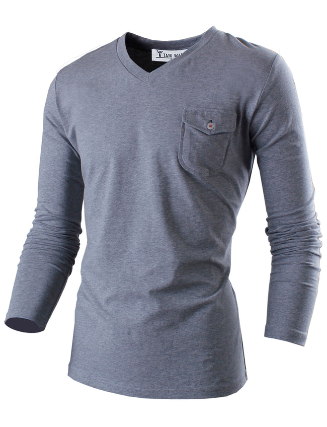 TAM WARE Men's Casual Slim Fit V-neck with Patched Pocket Long Sleeve T-Shirts