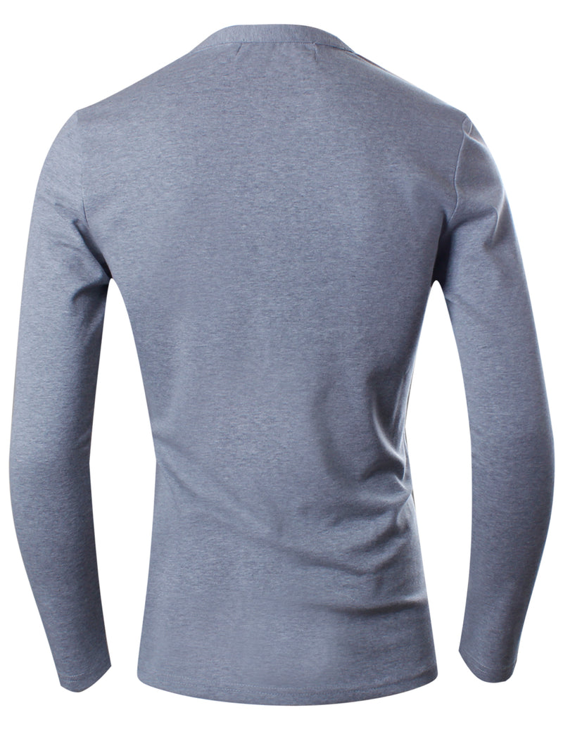 TAM WARE Men's Premium Slim Fit Henley Long sleeve T-Shirt