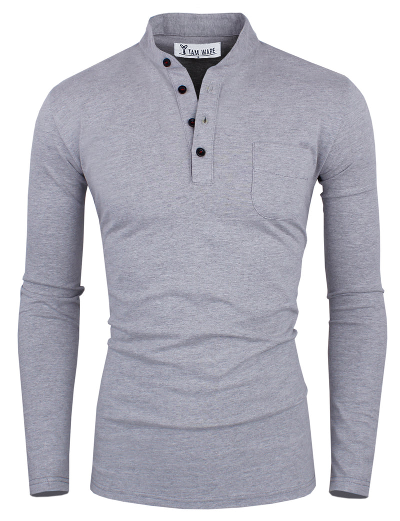 TAM WARE Men's Plain Chest Pocket Long Sleeve Henley T-Shirt