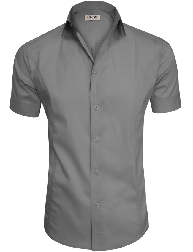 TAM WARE Men's Casual Plain Short Sleeve Button Down Shirts