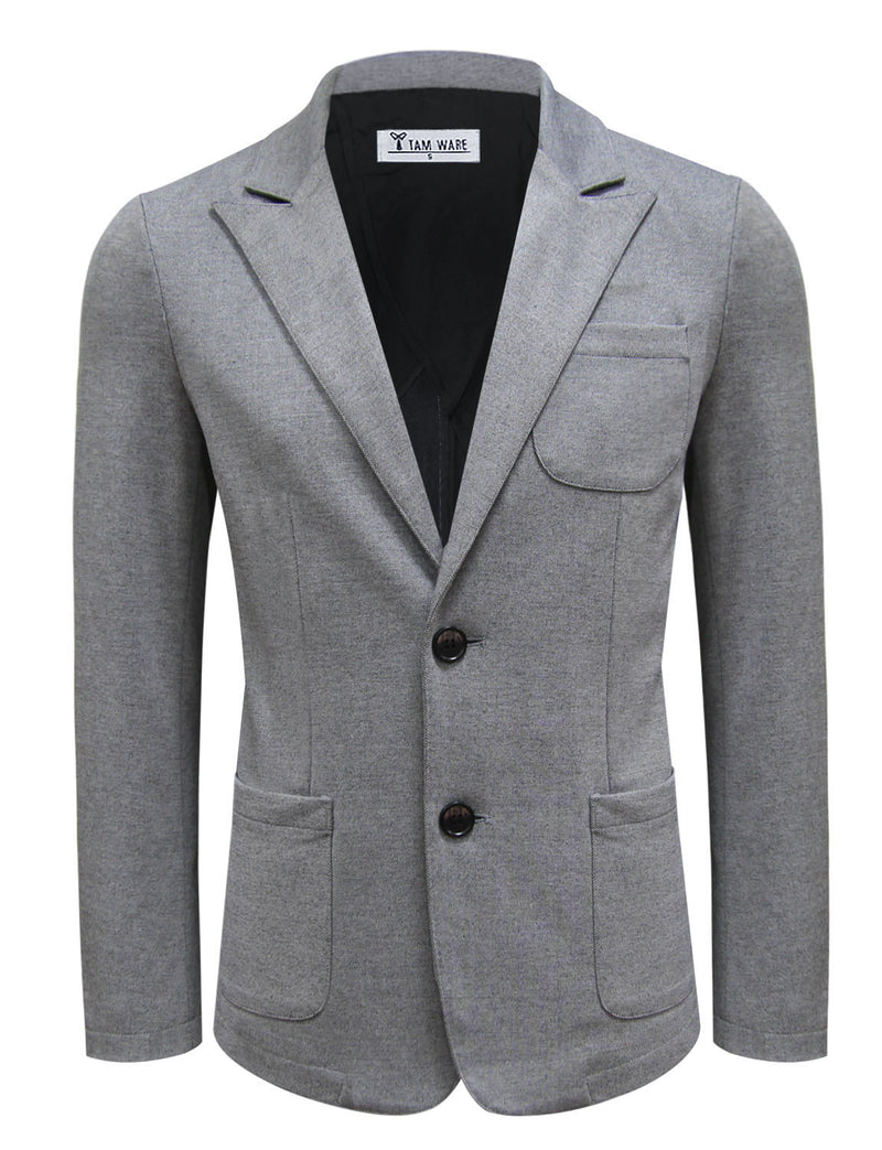 TAM WARE Men's Casual Two Button Peak Lapel Single Breasted Blazer